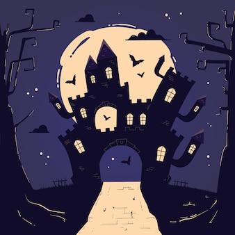 Casa de halloween dibujada a mano