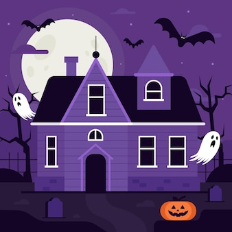 Casa de halloween de dibujos animados