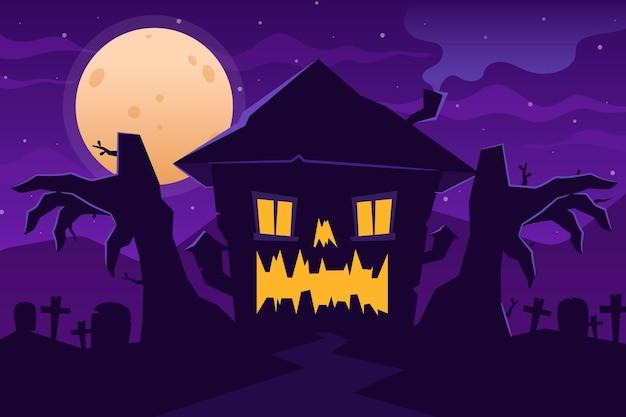 Casa de halloween en diseño plano