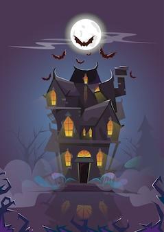 Casa de halloween noche murciélagos volando alrededor