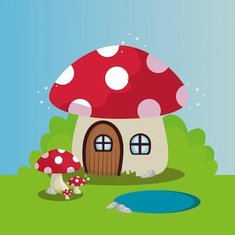 Casa de hongos en escena de cuento de hadas