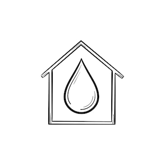 Casa con icono de doodle de contorno dibujado de mano de gota de agua. concepto de servicio de suministro de agua. suelta en la ilustración de dibujo de vector de casa para impresión, web, móvil e infografía aislado sobre fondo blanco.