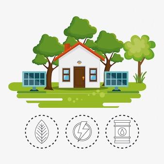 Casa con el icono de salvar el mundo
