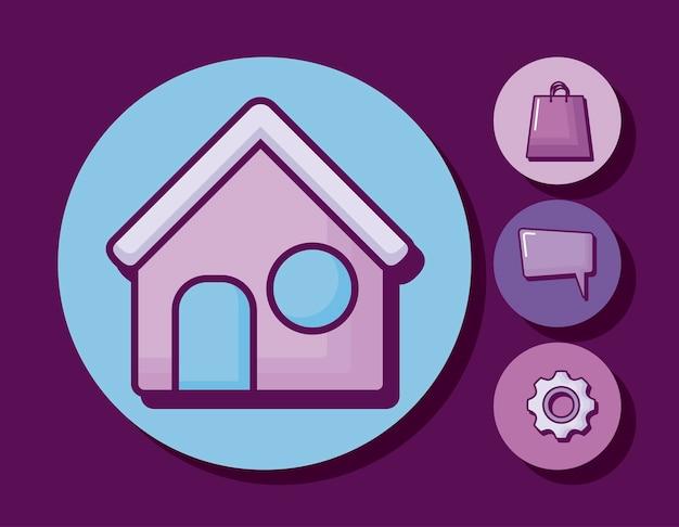 Casa con iconos de negocios