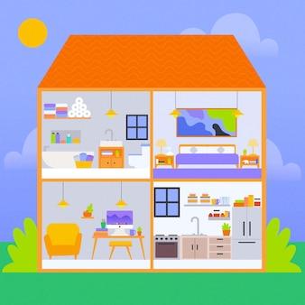 Casa en ilustración de sección transversal