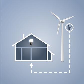 Casa de infografías vectoriales con turbina eólica para generación de energía eléctrica