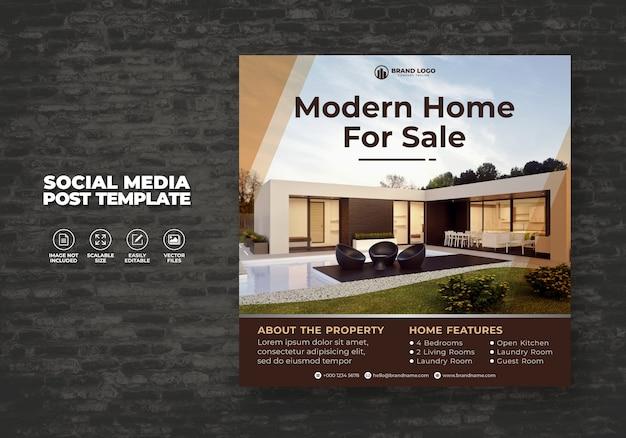 Casa inmobiliaria elegante y moderna en venta poste de banner de redes sociales y plantilla de volante cuadrado