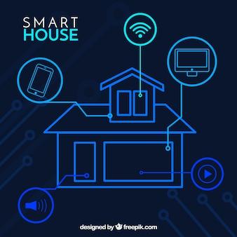Casa inteligente con dispositivos en estilo plano