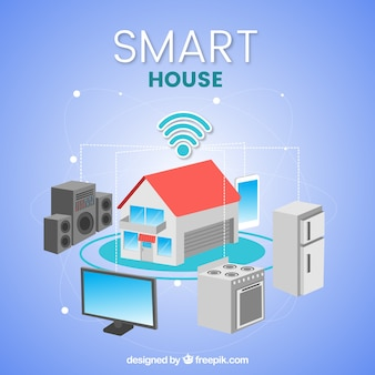Casa inteligente con funciones en estilo plano