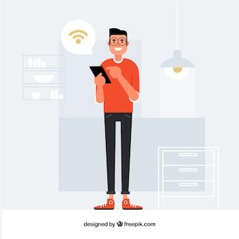 Casa inteligente con hombre en estilo plano