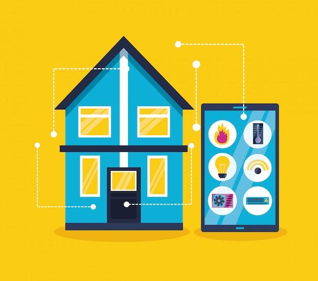 Casa inteligente en estilo plano
