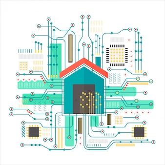 Casa inteligente en fondo futurista de microchip.
