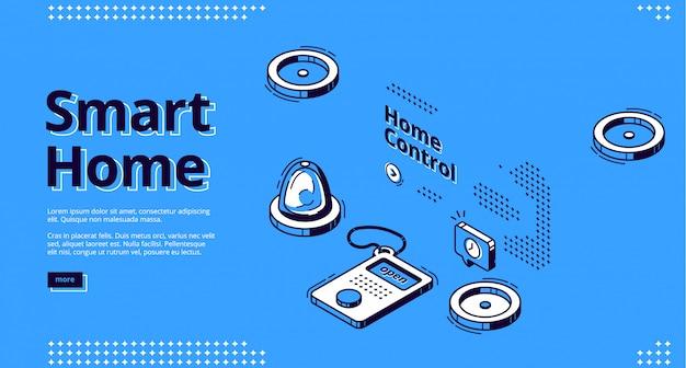 Casa inteligente, internet de cosas web isométrica