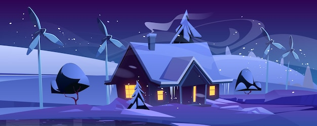 Casa inteligente con turbinas de viento en la noche de invierno, hogar ecológico en bosque nevado