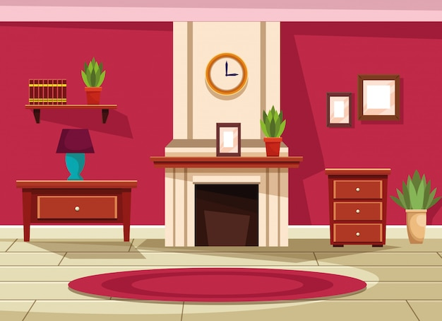 Casa interior con muebles decorados.