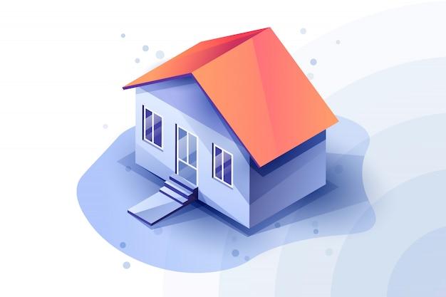 Casa isométrica 3d en esquema de color azul. tonos azules en casa. techo rojo de la casa. .