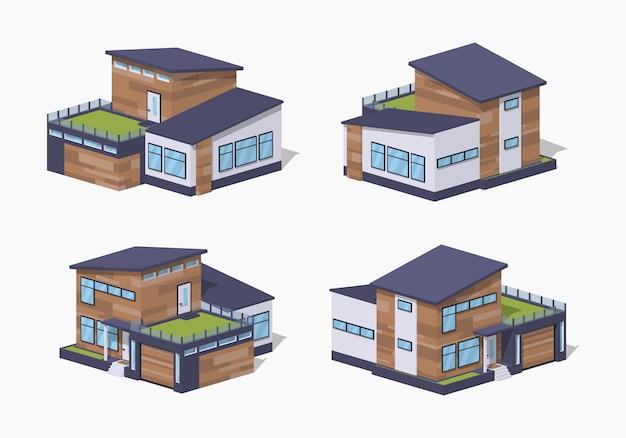 Casa isométrica 3d lowpoly contemporánea
