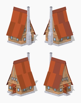 Casa isométrica en 3d lowpoly de madera a-frame