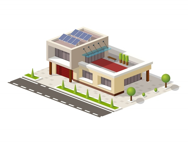 Casa isométrica de alta tecnología con paneles solares.