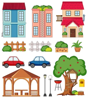 Una casa con juego de decoración al aire libre.