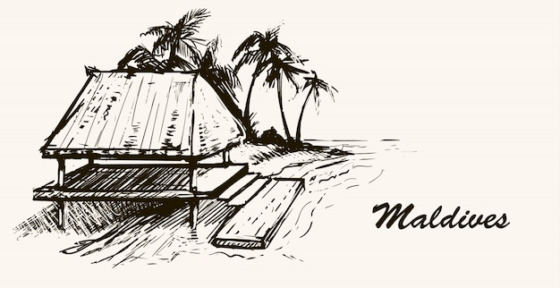 Casa junto al mar en la playa maldives.boceto dibujado a mano ilustración de maldivas. sobre fondo blanco.