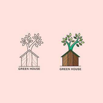Casa con logo de madera