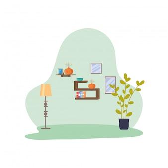 Casa lugar escena aislada icono vector ilustración diseño
