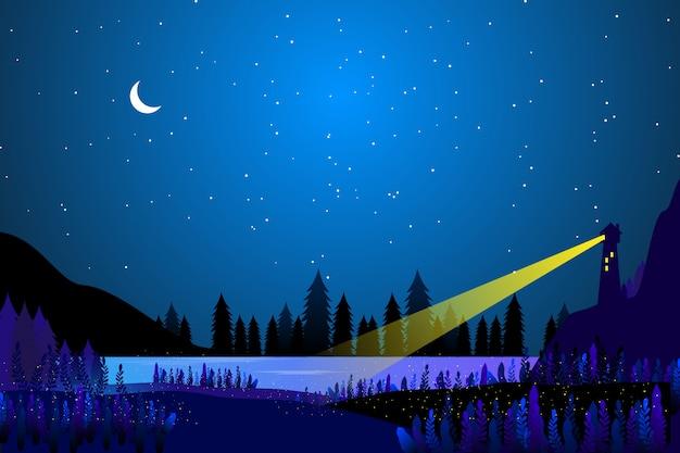 Casa de luz con noche estrellada