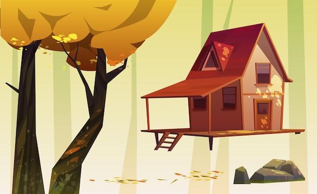Casa de madera y árboles con follaje amarillo, piedra y hojas caídas.