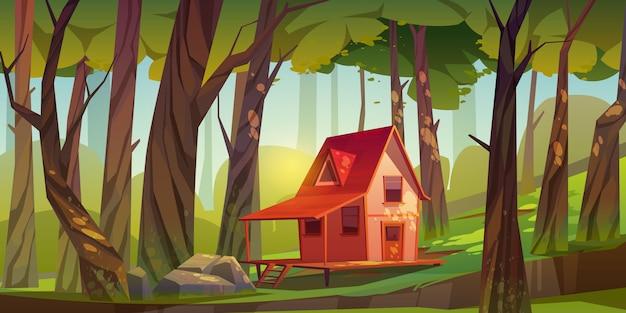 Casa de madera en bosque o jardín.
