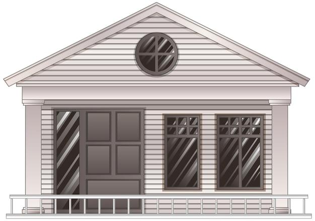 Casa de madera en escala de grises