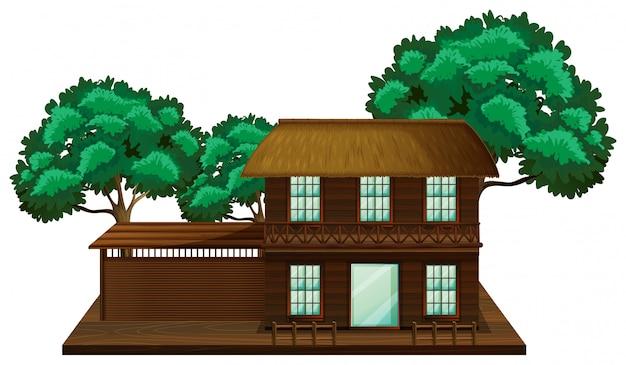 Casa de madera con escena de ilustración de árboles