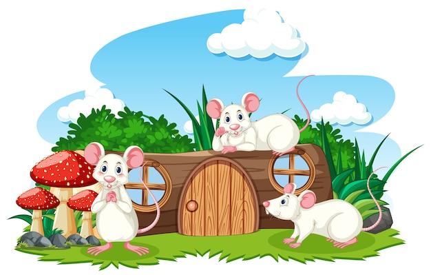 Casa de madera con estilo de dibujos animados de tres ratones sobre fondo blanco