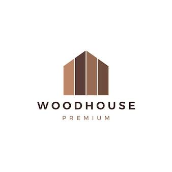 Casa de madera panel de madera fachada de la cubierta de madera wpc vinilo hpl logo icono ilustración