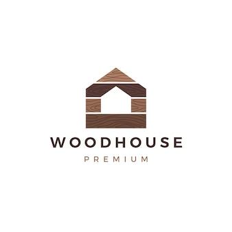 Casa de madera panel de madera fachada de la pared cubierta wpc vinilo hpl logo icono ilustración