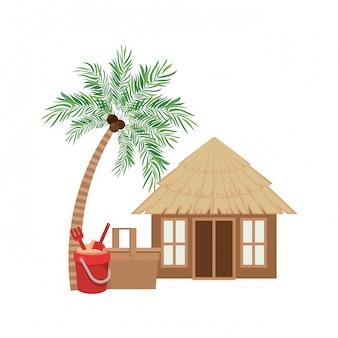 Casa de madera en la playa.