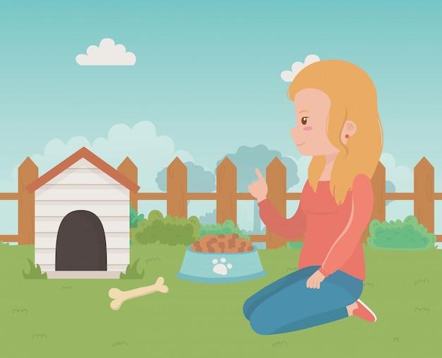 Casa para mascota y niña de diseño de dibujos animados.