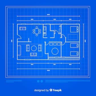 Casa moderna con croquis plano