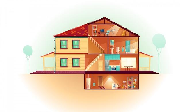 Casa moderna, exterior de casa de dos pisos y dibujos animados de interiores de sección transversal