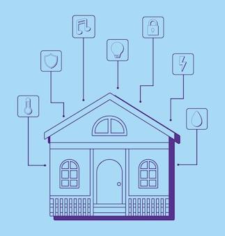 Casa moderna con iconos relacionados con casa inteligente
