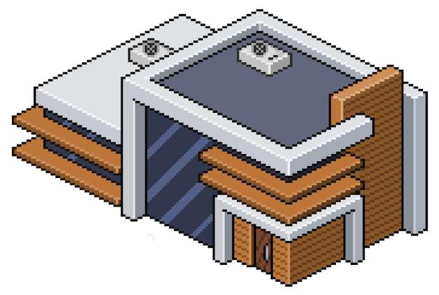 Casa moderna isométrica de pixel art. construcción para juego de 8 bits