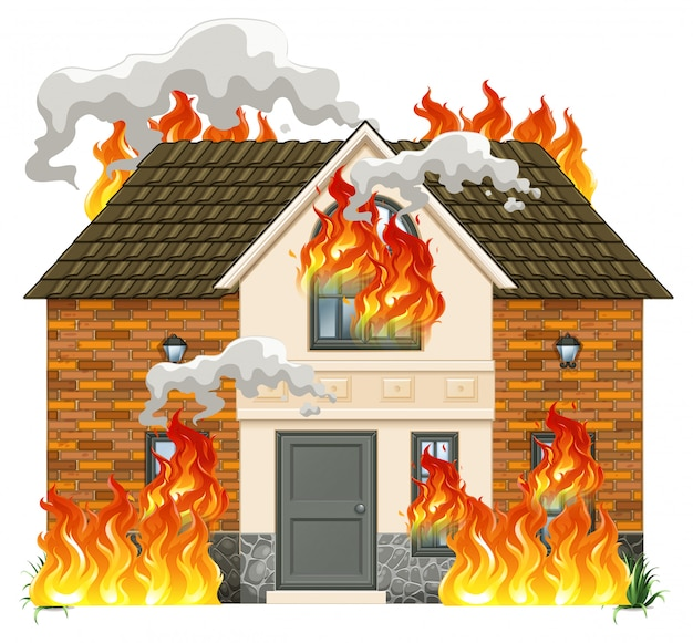 Una casa moderna en llamas.