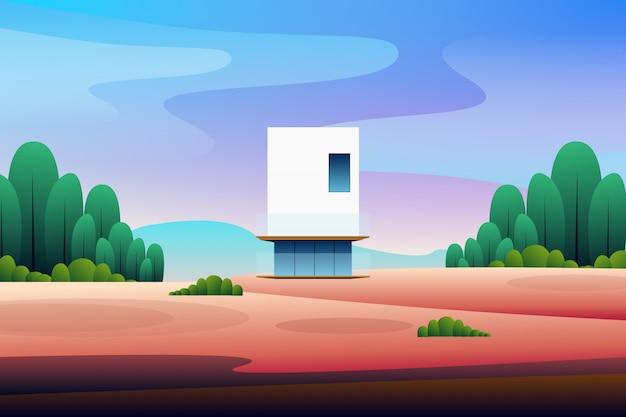 Casa moderna del paisaje en la ilustración del bosque