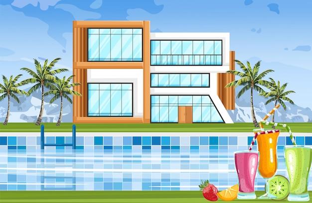 Casa moderna con piscina.