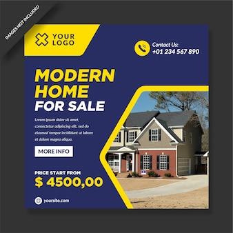Casa moderna en venta diseño de vector de promoción de instagram