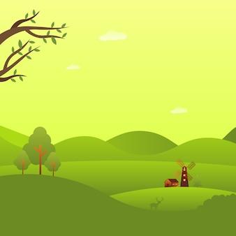 Casa y molino de viento en el bosque hermoso paisaje