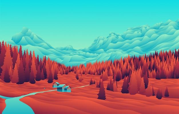 Casa montaña verde azulado fondo naranja