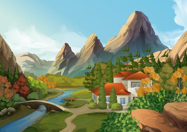 Casa en las montañas, ilustración de paisaje de naturaleza