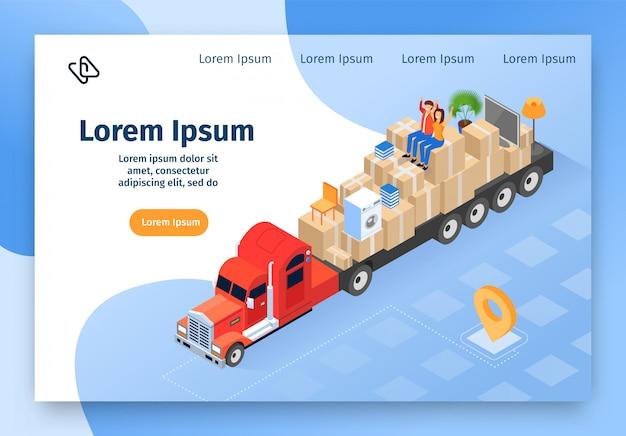 Casa móvil empresa vector isométrica sitio web