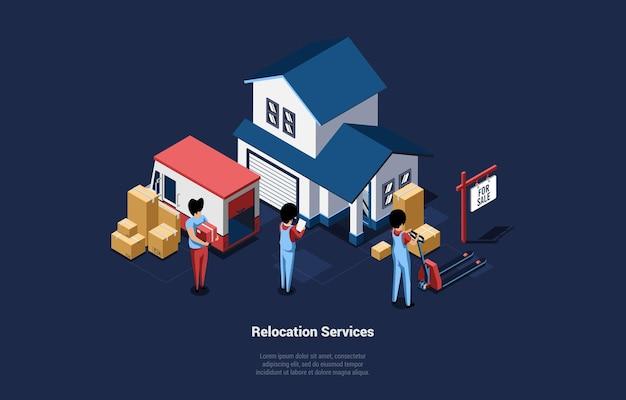 Casa móvil y servicios de reubicación concepto ilustración 3d en estilo de dibujos animados con grupo de personas. composición vectorial isométrica del personal que lleva cajas de cartón del edificio al camión o viceversa.